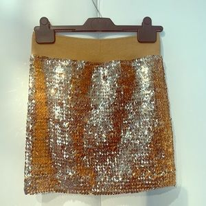 Lily White Gold Sequined Skirt